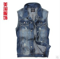 2013 spring and summer sleeveless jacket slim the trend men's clothing jeans vest male denim vest Waistcoat free shipping