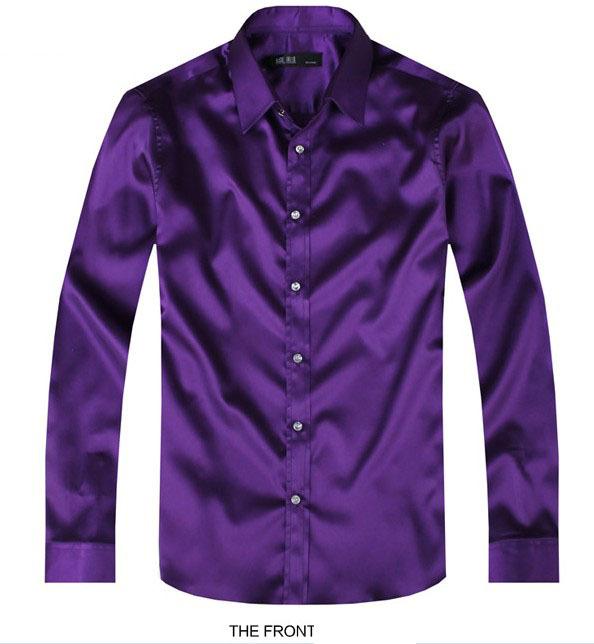 Purple Luxury the groom shirt male long-sleeve wedding shirt men's party Artificial silk dress shirt M-3XL 21 colors FZS11(China (Mainland))