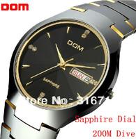 New 2013 200M Dive Men Full tungsten Steel Watch,Luxury Sapphire Dial Round Business Casual Sports Men Quartz Wristwatch 398