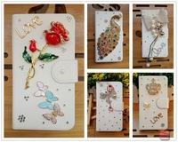 Hot Diamond flower Tower pearl peacock butterfly bear leather flip case cover for SONY Xperia P LT22i