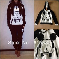 Mickey Mouse Sweatshirt tracksuit For Women sport Suit/Set MICKEY Sweater Pullover Hoody Hoodies Sportswear Costume