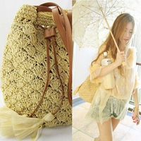 bohemia tassel bucket hook needle straw bag rattan bags beach bag pure hand make