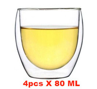 4x80ml double layer glass teacup,wholesale double wall china glass tea cups set,clear cheap drinking glass tea cup,free shipping