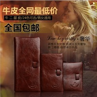 The Long Short Vertical Wax Leather vintage lovers brand purse men's fashion man Solid genuine leather wallet bags