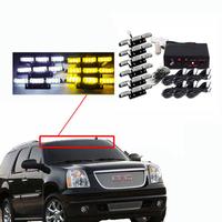 54 LED Emergency Vehicle Strobe Lights/Lightbars Deck Dash Grille Amber & White