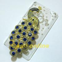 1 Pcs Handmade Bling Peacock Clear Hard back case For Nokia Lumia 520