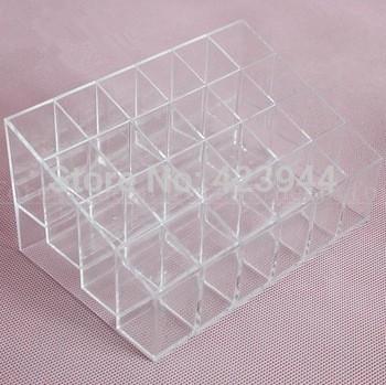 24 Grid Square transparent lipstick rack make-up lip gloss lipstick mascara display rack for cosmetics storage box(China (Mainland))