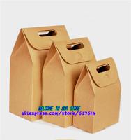 Free shipping,zakka handle Kraft Paper Biscuit Box Bag Craft Gift Craft Candy packaging Box