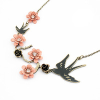Min Order $10(mix items)Free Shipping!Wholesale Jewelry Retro personality lovely bird Flower Crystal Gem Necklace  A363
