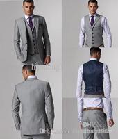 Wholesale - Custom Made Slim Fit Side Slit Light Gray Groom Tuxedos Best Man Suit Wedding Groomsman Men Suits Bridegroom (Jacket