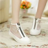 2014 New Brand Ladies Shoes Women Summer Gauze Breathable Thongs Sandals Flat Rubber Cutout Zipper Babouche Sandal for women