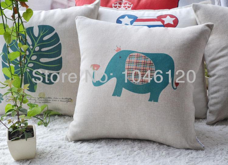 """Retronovelty adorável elefante do circo desempenho elefante pássaro da coruja padrão feitas à mão capa de almofada throw pillow caso 17 """" PC024(China (Mainland))"""