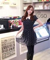 2014 New Arrivel Cute Chiffon Polka Dot  Dress Doll Collar Causal Women Summer Sweet Dress