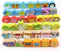 Kids Wooden  Animal Beads Baby  Toy ,40Pieces/set,Building Blocks Set,Wooden Toys Educational