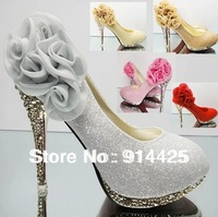 2014 New Luxury Sexy Silver High-Heeled Wedding Bridal Women's Shoes Rhinestone Flower Shoes