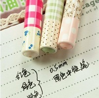 Blue Bai Stationery--Hot sale South Korea stationery Pure and fresh and rural wind broken beautiful grid neutral pen 330
