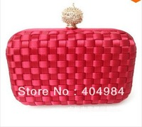 FREE SHIPPING Fashion Alloy Buckle Woven Plaid Clutches Evening Bags. Silk Rhinestone Women's Handbags Multicolor