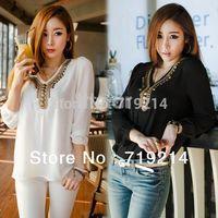Korean Women's Girl Long Sleeve Shirt V Collar Bronze Flat Studs Tops Black/White #SV14023