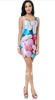 BL-124 2014 Women brand black milk Pills Dresses galaxy printing summer Vest Tops 5pcs/lot free shipping