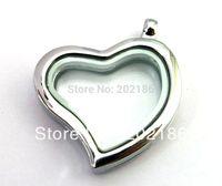 5pcs 30mm Magnetic floating locket zinc alloy heart shape floating charm locket Free shipping
