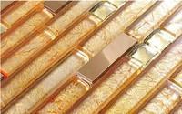 2014 Hot Sale High Class Gold Foil Stainless Steel Strip Mosaic Modern Room Puzzle Mosaic Household Kitchen Art Backsplash Tiles