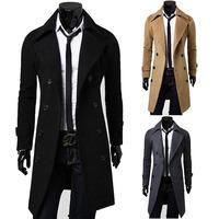 spring 2014 new male mens clothing overcoat man fur collar khaki trench coat mens jacket long slim fit men coat casaco masculino