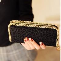 free shipping 2014 women clutch fashion horsehair leopard print purses long design zipper wallet female chain bag