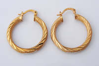34mm 14k Yellow&White Solid Gold Filled/Plated Sparkling Jewelry Hoop Earrings Fashion Design Earring Women Wedding Gift E316