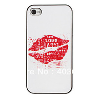 Free shipping Sexy Lips Pattern PC Hard Case with Black Frame Cover for iPhone 4/4S