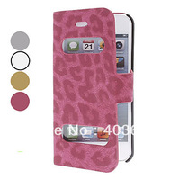 Free shipping Leopard Print Clamshell Design Full Body Case Cover for iPhone 5/5S (Assorted Colors)