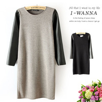 2014  New Fashion PU Leather Stitching  Long-sleeve O-neck Women Dress