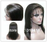 Short silky Yaki straight lace front wig full Lace Wigs high quality brazlian hair #1,#1b,#2,#4 natural line, baby hair best !!