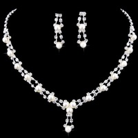 Wedding and party Jewelry sets include Earrings and Necklace made from Pearl and Rhinestone