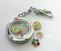5pcs Magnetic floating locket Keychain zinc alloy Round shape floating charm locket Free shipping