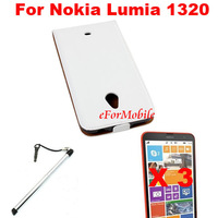 Flip Genuine Leather Case Leather Pouch + Screen Protector +Pen For Nokia Lumia 1320