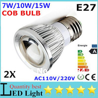 2x High Power E27 E14 GU10 B22 MR16 LED COB Spotlight bulb 7W 10W 15W AC110V/220V  Lamp White/ Warm /Cool White Free shipping