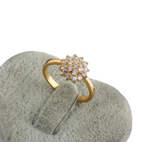 Womens Fashion Popular Size 7 8 Gorgeous Simple Flower Pattern Jewelry Zircon Decoration Gold Plated Ring R1-J12308