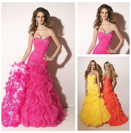 Orange mermaid prom dresses