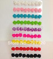24 pairs of multicolour  Rose Flower Earing Stud Lady/Women Jewelry Earrings Free Ship