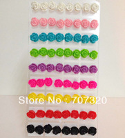 24 pairs of multicolour  Rose Flower Earing Stud Lady/Women Jewelry Earrings Free Ship