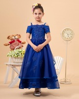 2014 Fashion Color Applique Short Sleeve Royal Blue Flower Girl Dress