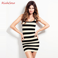 2014 spring fashion sexy o-neck black and white stripe slim basic tank dress casual zebra-stripe dresses short skirt large size