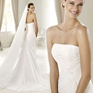 encargo de la boda vestido suave de la moda elegante novia plisada delgado de gasa de seda de la cola de pescado vestido de novia vestido formal