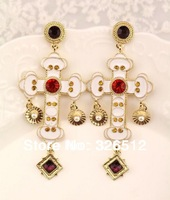 2014 European Style Gold Plated Metal Rhinestone crystal Flower White Enamel long Cross eardrop Dangle Earrings 3Pairs/lot