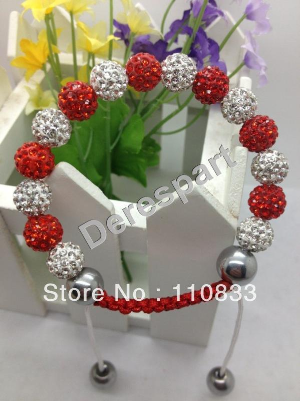 5Pcs Free Shipping Fashion Shamballa Bracelet Handmade Jewelry Making Crystal Disco Ball Beads Friendship Style DES10(China (Mainland))