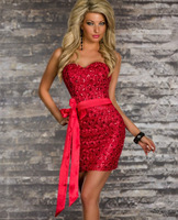 Perfect design Sexy Women Strapless Wrap Hips Career Bodycon Party Club Evening Dress elegant sequined dresses free size 5431