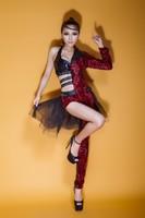 Ds costume fashion female singer jazz dance costumes clothes paillette leopard print bodysuit