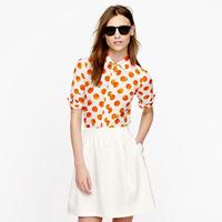 New 2014! European Stylish Orange Print Shirts Long Sleeve Turn Down Collar Woman's Fashion Chiffon Blouses Tops  011504