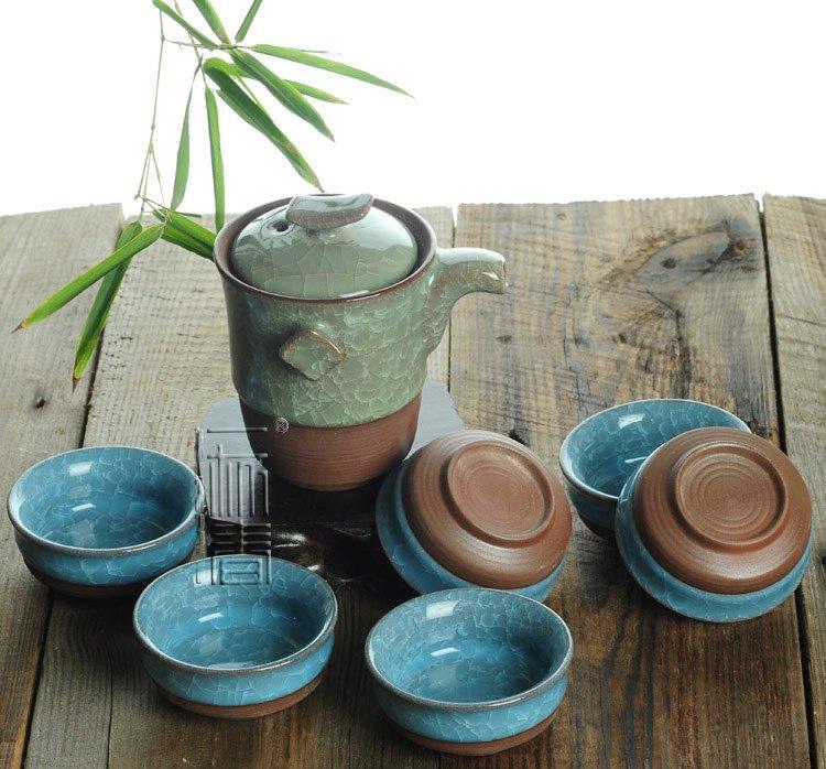 7pcs Exquisite Ice Carck Tea Set Porrtery Teaset A3TB01 Free Shipping