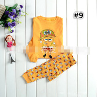 #9 Autumn/Summer/Spring Kid SpongeBob Pajamas Sets Sleepwear Pyjamas Set for Baby Toddler Kids Boys Girls Cartoon Clothing Set